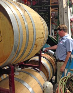 Keeping it clean before pulling a sample from the Merlot barrels