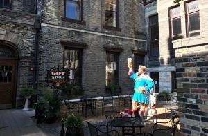 "In the beer garden - but not that ""King of Beers"" in Milwaukee"